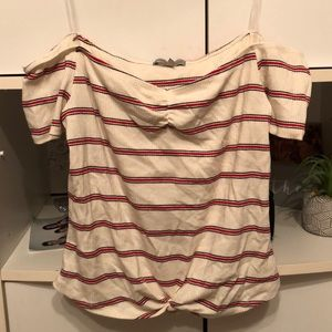 Red white and blue off the shoulder top